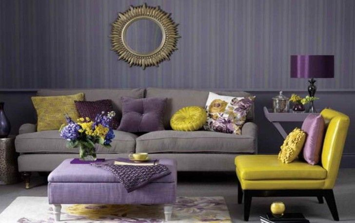 Decorative Wall Mirror Design With Purple Ottoman Coffee Table Feat Trendy Yellow Living Room Accent Chair Plus Rectangular Rug Adorable Room Idea for Any Living Room Using Well-Designed Cadence Chairs Living Room