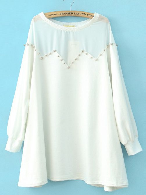 White Long Sleeve Contrast Chiffon Shoulder Beading Blouse
