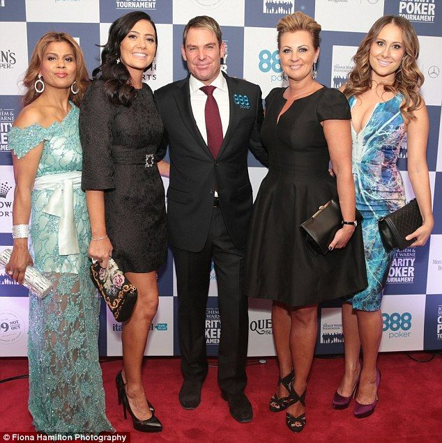 Ladies' man: A phalanx of beauties swarmed around the handsome star including, from left, Real Housewives of Melbourne's Pettifleur Berenger wearing one of Leiela's custom made Gowns, Lydia Schiavello, Chyka Keebaugh and Jackie Gillies