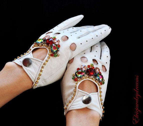 White Swarovski Fingerless Leather Gloves by Elviejewelrydreams