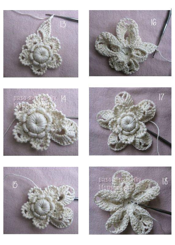 clase magistral de flor tejida crochet irlandés