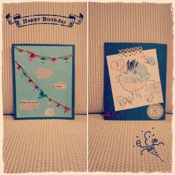 もうすぐ誕生日のお義母さんへ娘と一緒にバースデーカードを手作り☆たまりにたまった娘の写真とフォトアルバムも一緒にプレゼント*毎年何あげるかほんと迷う***(๑¯ω¯๑)