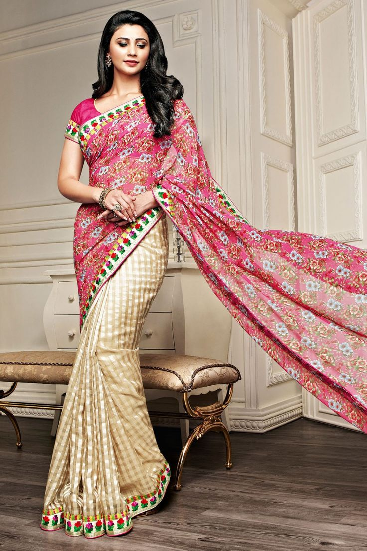 Daisy Shah - Pink and Beige Faux Georgette Saree with Printed and Lace Work - Z1982P253-6 #designer #bollywood #daisyshah #sarees @ http://zohraa.com/sarees/sari/celebrity.html #celebrity #zohraa #onlineshop #womensfashion #womenswear #bollywood #look #diva #party #shopping #online #beautiful #beauty #glam #shoppingonline #styles #stylish #model #fashionista #women #lifestyle #girls #fashion