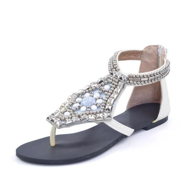 HEE GRAND Platform Gladiator Sandals Summer Bohemia Flip Flops 2017 Beaded Shoes Woman Vinatge Rhinestone Zip Flats XWZ2163