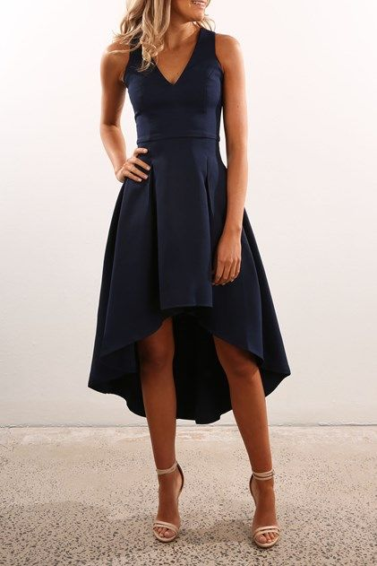 Adorable solid navy wedding guest dress with the fun and flirty high-low skirt, fitted bodice, and v-cut neckline | Frankie Dress Navy