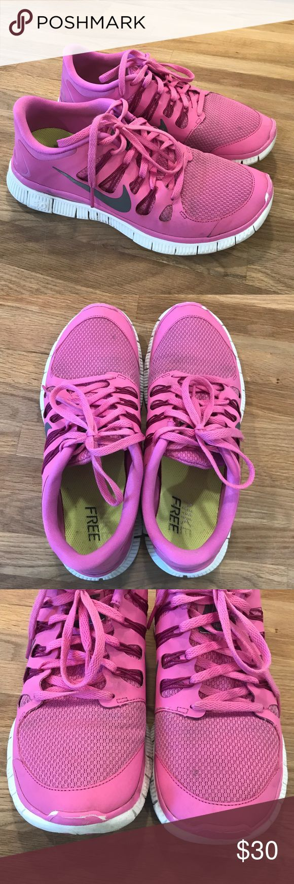 Nike Free 5.0 Sneakers Size 10 Women's Nike Free 5.0 sneakers. Size 10. Bubble gum pink and white! Fair condition because they show signs of wear. Please see photos. Priced accordingly. No box. Worn but still super cute on! No trades.   PRICE IS FIRM! Thank you! Nike Shoes Sneakers