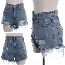 Plus size Women's Punk Rock Fashion Street Vintage Grunge Hole Water Wash Retro High Waist sexy short hot pants Jeans SV000535 Best Buy follow this link http://shopingayo.space