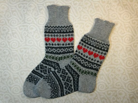 Wool hand-made socks with nice ornament pattern