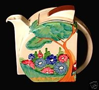 'Clarice Cliff' Teapot (1930's). Clarice Cliff (1899 - 1972) was an important English ceramic industrial artist active from 1922 to 1963.   Her work is highly collectible today.
