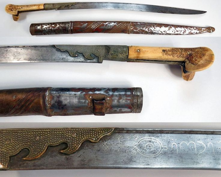 Ottoman yatagan with walrus hilt, the gilded mounts with granulated motif. The well-forged blade inlaid in silver on each side; on the left, WORK OF MAHMUD [OWNER] MEHMET ALI BEK (?) YEAR 1224 (1808/09 c.e.) and on the right, O HERO ALI! In its wooden scabbard with embossed metal cover. Dated 1808-09. Very light wear. Overall length 73.6cm. http://auctionsimperial.com/
