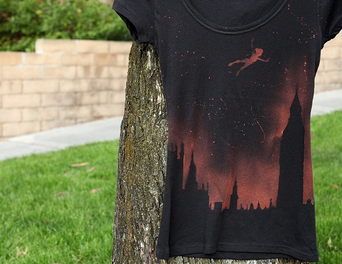 Grunge style bleached Peter pan horizon shirt. Could also do paint on a tote bag or something! All using stencils and spray.