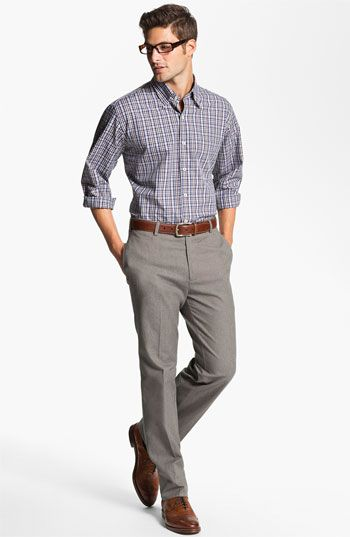 Love the glasses and the brown accents.    Peter Millar Sport Shirt & Trousers | Nordstrom