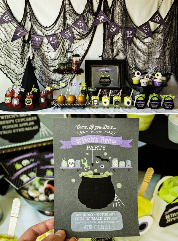 Witch's brew theme party party home decor autumn witch diy halloween party food halloween party ideas