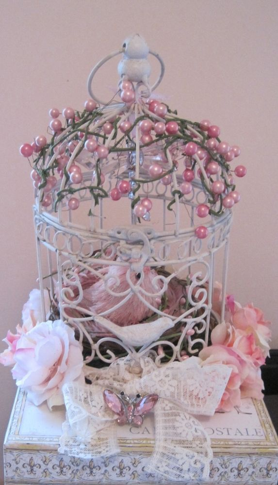 Pink White Shabby Chic Girl Baby Decorated Birdcage Dragonfly Butterfly Bird