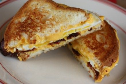 Bacon, egg, and cheese in a grilled cheese sandwich. YUM!