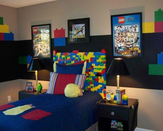 Breathtaking Bed Decor Design With Lovely Headboard Ideas For Boys Bedroom: Contemporary Kids Room Decor With Lego Headboards And Blue Bedding And Stunning Black Small Desk Lamp On Classic Dark Wood Cabinet  Ideas ~ bubaraba.com Apartment Inspiration