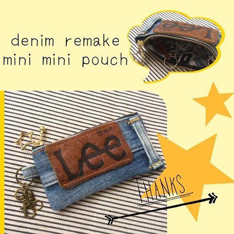 デニムリメイク★★ミニミニポーチ ☆記録用です☆ Lee革タグを使用したミニミニポーチ かっこいいですよね~ 星のチャームもいい感じ #denimremake #handmade #denim #remake #デニム#デニムリメイク#リメイク#リメイクデニム#ハンドメイド#ハンドメイドポーチ#ミニミニポーチ#キーケース