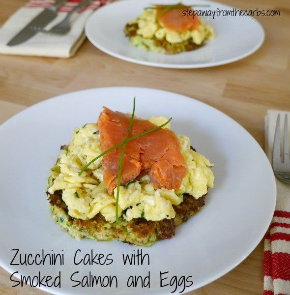 Zucchini Cakes with Smoked Salmon and Eggs - a delicious low carb ...