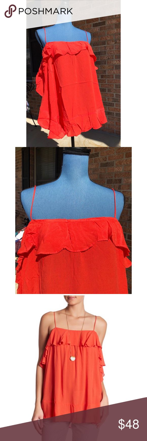 FREE PEOPLE Cascades Cami Drop Shoulder Top M NWT spaghetti Strap Top from FREE PEOPLE.  Size M. Cascades Camisole.  Red/Orange.  Fabrication and Sizing:  See photo. Free People Tops Camisoles