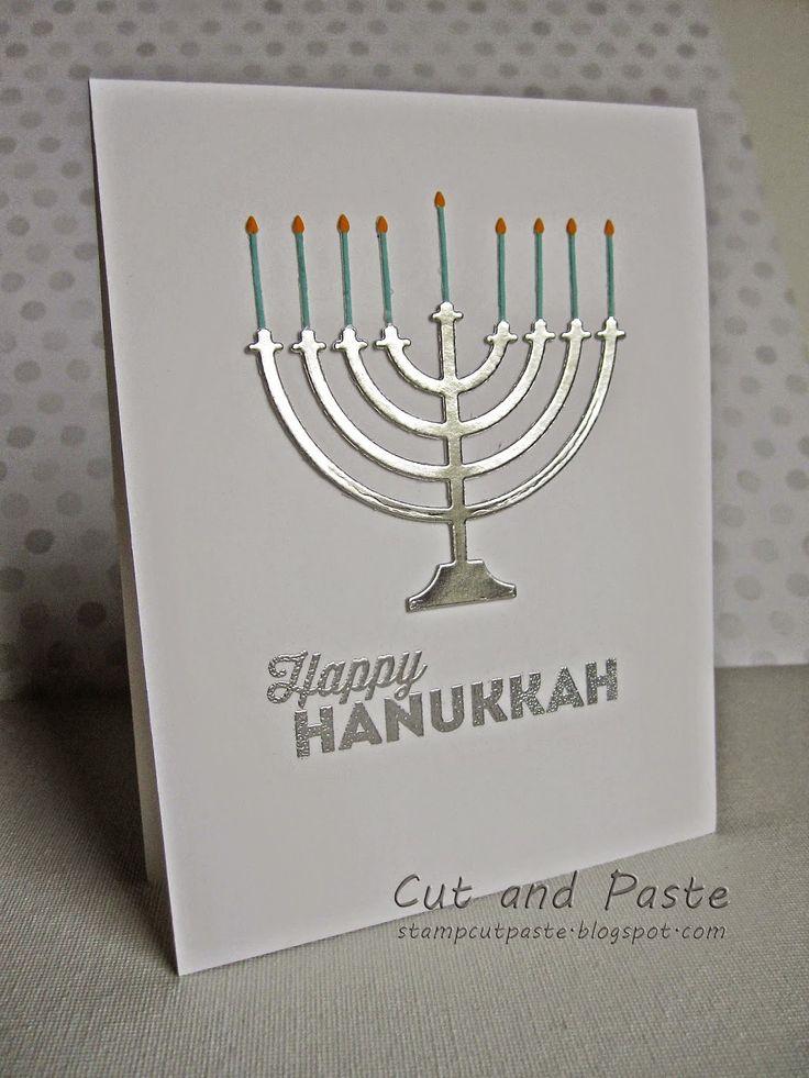 Cut and Paste: CAS Silver Hanukkah Menorah Card