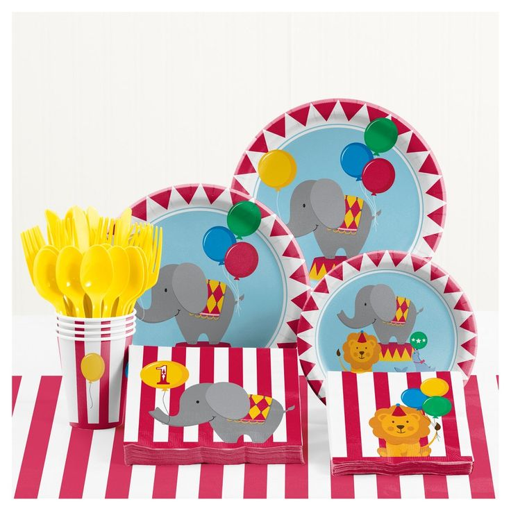 Circus 1st Birthday Party Supplies Kit,