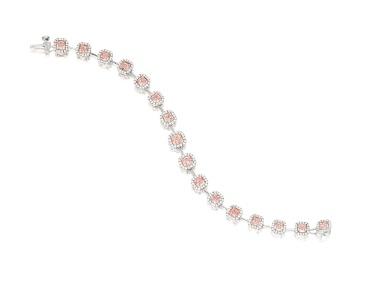 Pink diamond and diamond bracelet