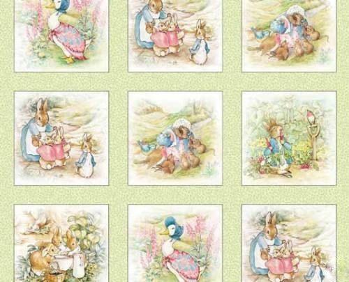 "Beatrix Potter Fabric Peter Rabbit Quilt blocks 4"" Sage"