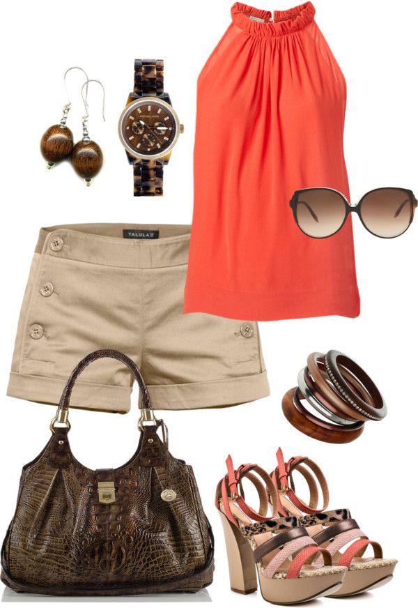 #summer #outfits / Peach Halter + Beige Shorts