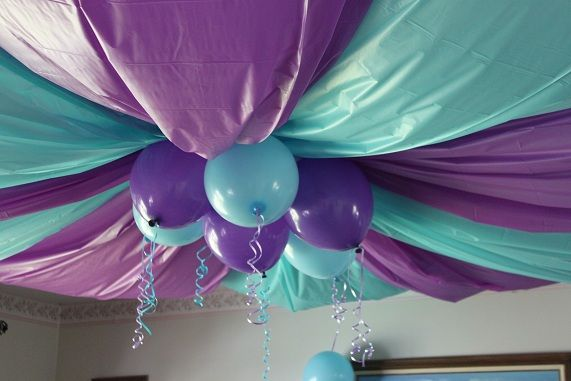 brave party ideas | The railing all decorated- the little blue things that are hanging ...