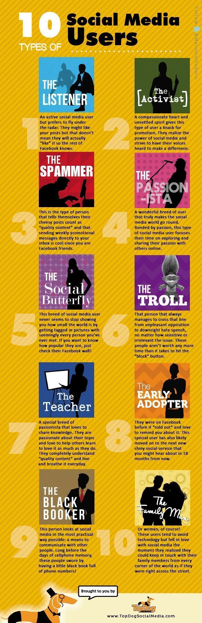 Which social media user are you? I think I'm a combo of the activist and the teacher.  Funny little article about different types of social media users! #MCO435