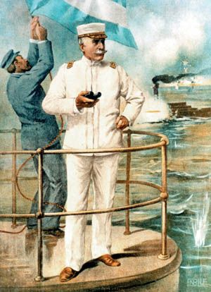 Commodore George Dewey at the Battle of Manila Bay, May 1, 1898