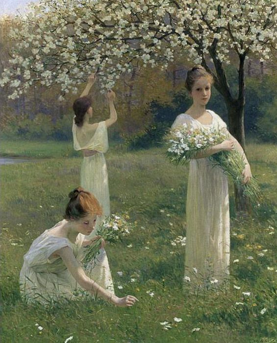 Girls picking flowers in an orchard, Leopold Franz Kowalsky (French, 1856-1931)