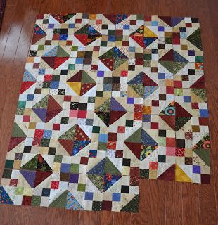 "3"" finished half square triangle block (4 of them) plus four-square blocks, all set on point http://afwife85.blogspot.com/2011/01/when-is-leaderender-real-project.html"
