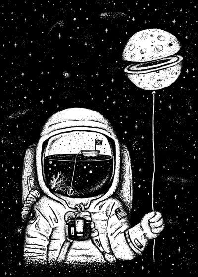 Astronauta Tatuagem; Astronaut Tattoo; Desenho; Design