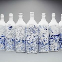 Chinese willow pattern inspired Johnnie Walker porcelain whisky bottles. Designed by creative agency Love, illustrated by Chris Martin.