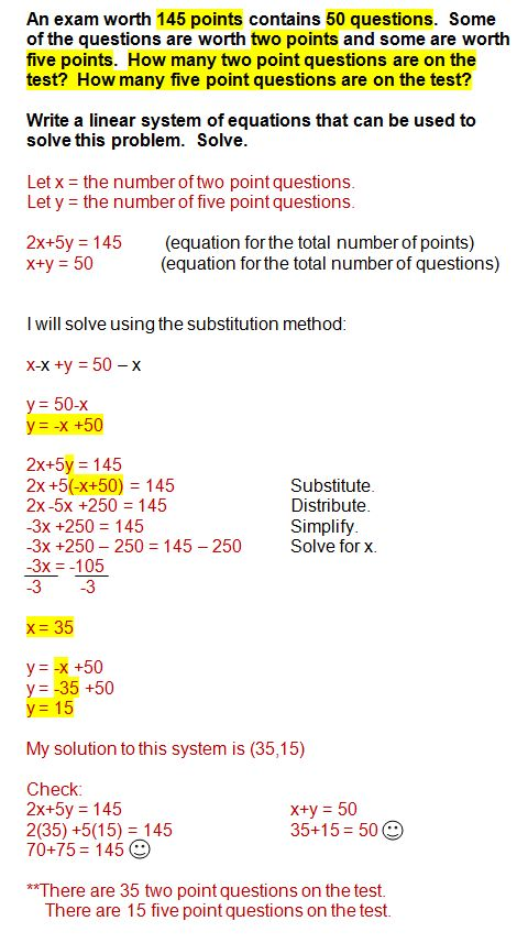 solving systems of linear equations word problems