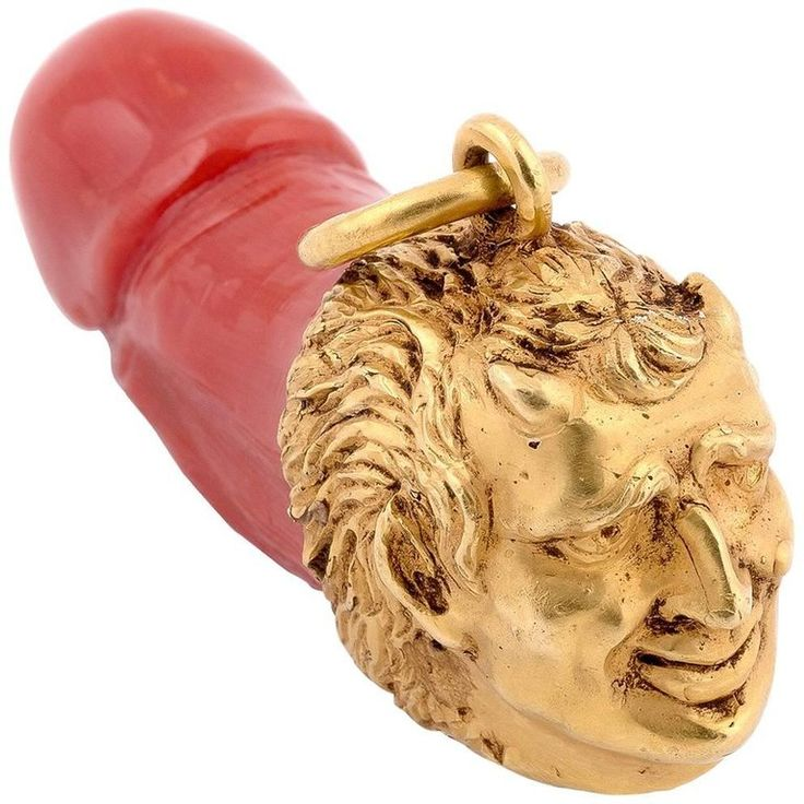 Gold Satyr and Coral Phallus Pendant | From a unique collection of vintage more objets d'art and vertu at https://www.1stdibs.com/jewelry/objets-dart-vertu/more-objets-dart-vertu/