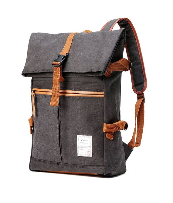 Tidy Urban cotton Backpack Charcoal Gray by BagDoRi on Etsy