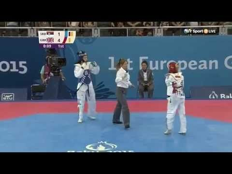 Charlie Maddock wins gold in the women's -49kg in Taekwondo at the first ever European Games in Baku 2015.