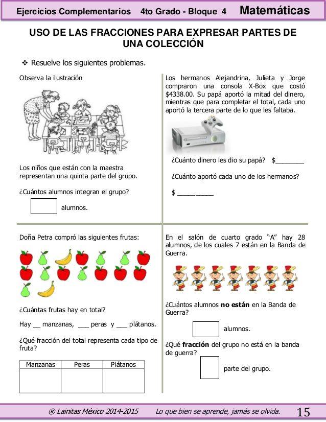 Resultado de imagen para fracciones para cuarto grado | Matematica ...
