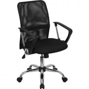 Cheap Computer Chair – GO-6057-GG Mid-Back Black Mesh Computer Chair
