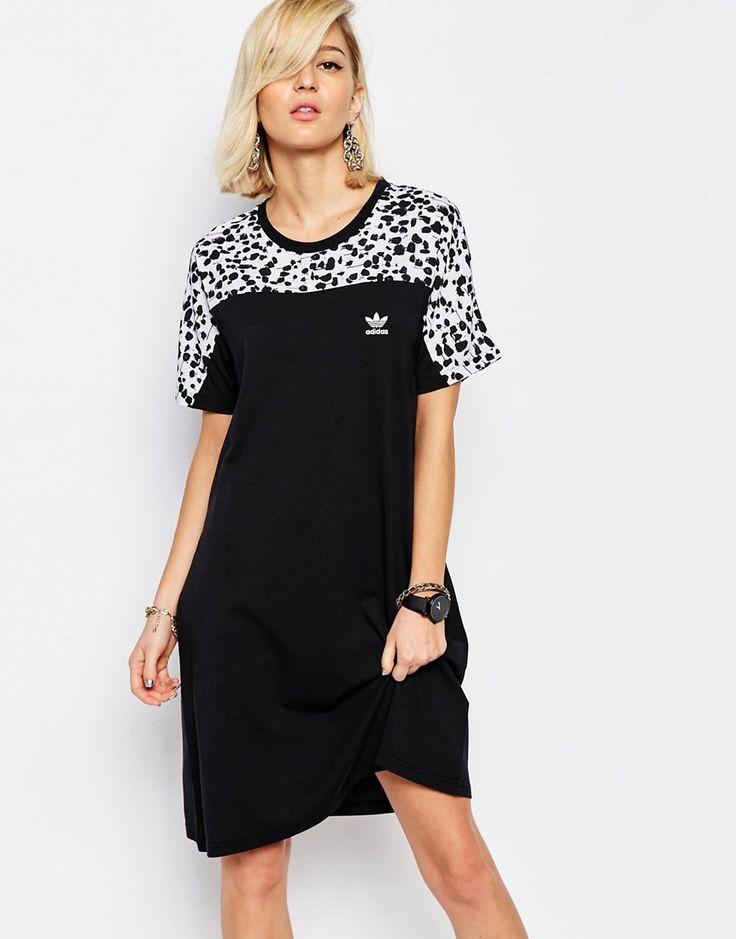Image 1 ofadidas Originals T-Shirt Dress In Inked Print