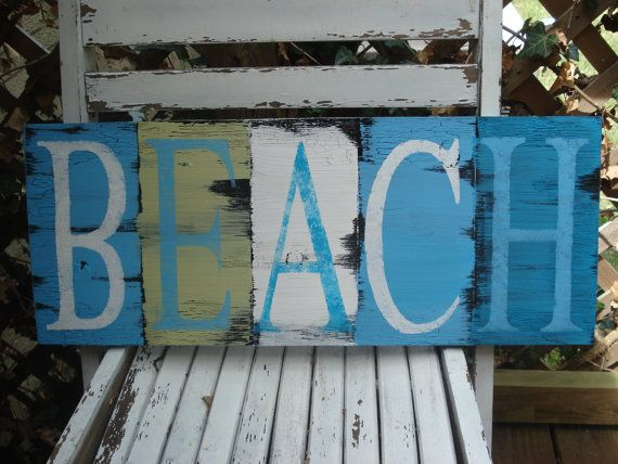 I like the idea of painting wood pieces with letter of the same color scheme, so for a room do the child's name or an inspirational word