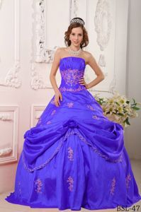 Strapless Appliqued Blue Sweet 15 Dress with Pick-ups