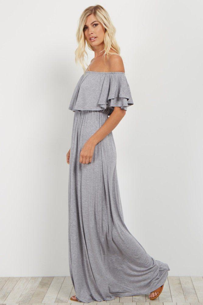 e221af449853 Heather Grey Off Shoulder Ruffle Trim Maxi Dress