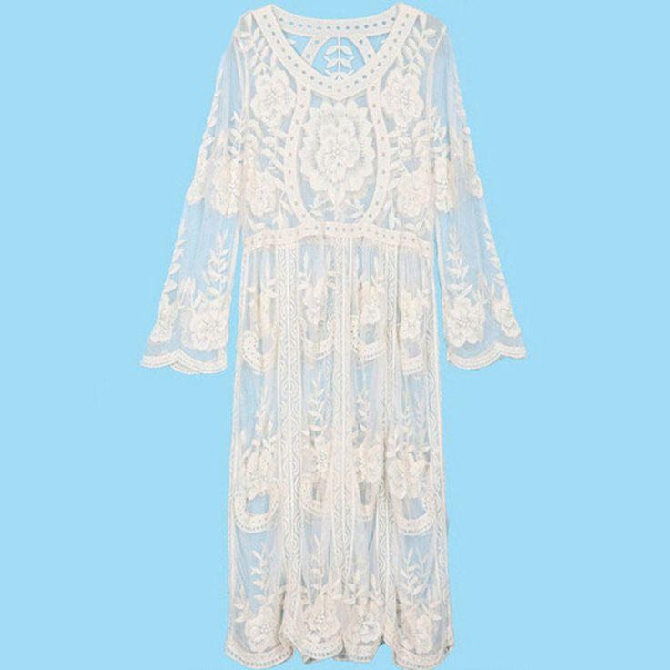 Goedkope Elan boho mensen hippie stijl vrouwen kleding vestidos borduren sheer white lace jurken elegent prom vintage strand jurk, koop Kwaliteit jurken rechtstreeks van Leveranciers van China:            sizeschouder (cm)buste (cm)taille (cm)lengte (cm)mouwlengte(cm)xs-      -