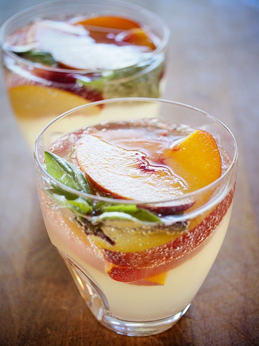 Sparkling summer sangria with lemongrass, ginger, and peach