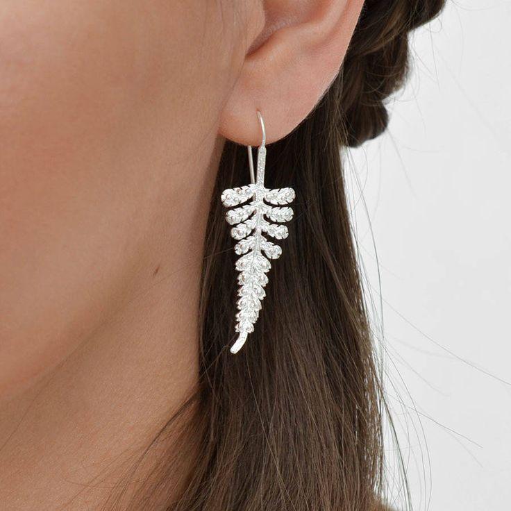 sterling silver fern earrings by martha jackson sterling silver | notonthehighstreet.com
