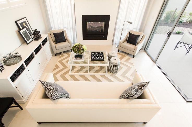 Lounge. Fireplace. Hamptons style theme. White & Black.