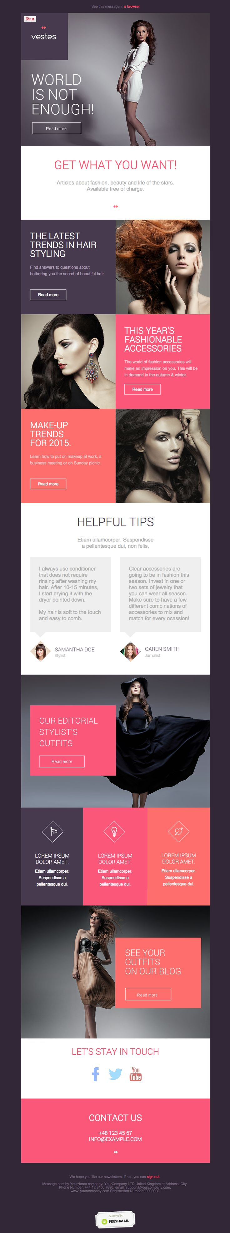 nice looking fashion responsive email newsletter templates #pink #photography #gray